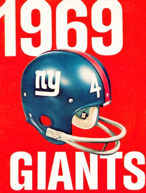 1969 new york giants football poster by Row One Brand
