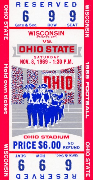 1969 ohio state wisconsin football ticket by Row One Brand
