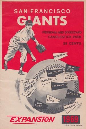 1969 san francisco giants scorecard vintage baseball by Row One Brand