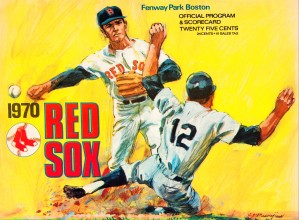1970 boston red sox vintage art scorecard reproduction print by Row One Brand