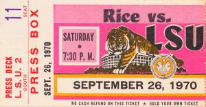 1970 lsu tigers football ticket stub canvas art print by Row One Brand