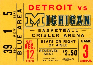 1970 michigan wolverines basketball ticket stub collegiate art by Row One Brand