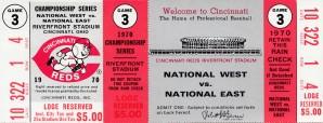 1970 world series ticket stub wall art cincinnati reds gift ideas by Row One Brand