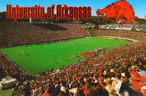 retro arkansas razorbacks football fayetteville razorback stadium photo by Row One Brand