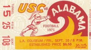 1971 alabama usc trojans football ticket stub prints on wood by Row One Brand