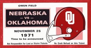 1971 Oklahoma Nebraska Game of the Century Ticket Stub Remix Canvas Art by Row One Brand