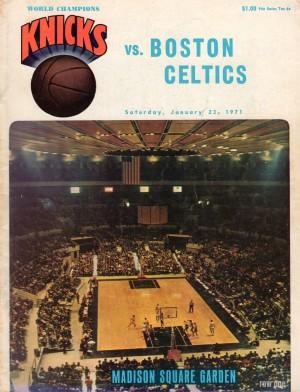 1971 vintage sports art new york knicks basketball program cover art by Row One Brand