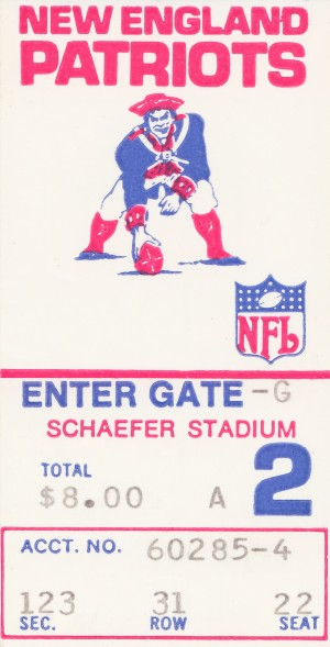 1972 new england patriots schaefer stadium art by Row One Brand