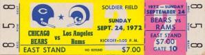 1972 nfl football chicago bears los angeles rams ticket stub art by Row One Brand