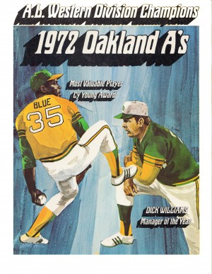 1972 oakland athletics al western division champions white border poster by Row One Brand