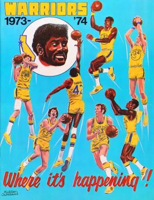 1973 golden state warriors nba basketball art by Row One Brand