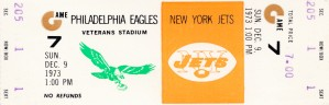 1973 new york jets philadelphia eagles veterans stadium nfl ticket by Row One Brand