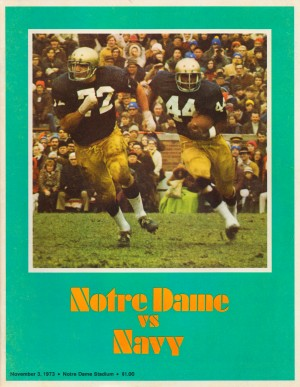 1973 notre dame navy college football program cover art poster metal sign print wood vintage sports by Row One Brand