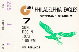 1973 philadelphia eagles ticket stub wall art poster by Row One Brand