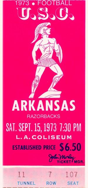 1973 usc trojans arkansas college football ticket stub art by Row One Brand