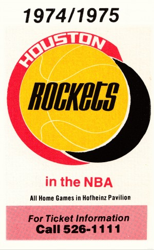1974 houston rockets ticket information poster wood print by Row One Brand