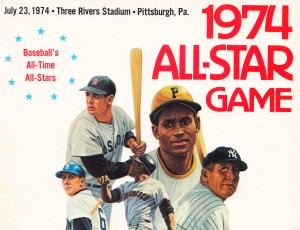 1974 mlb all star game art baseballs all time all stars by Row One Brand