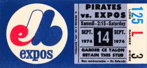 1974 montreal expos baseball ticket stub artwork by Row One Brand