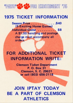 1975 clemson tigers football season ticket order form poster by Row One Brand