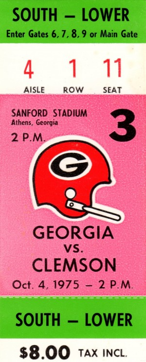 1975 college football clemson georgia bulldogs sanford stadium athens ticket stub canvas by Row One Brand