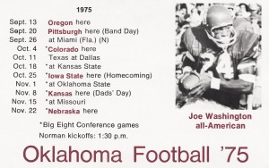 1975 oklahoma football joe washington all american schedule poster by Row One Brand