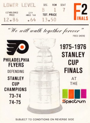 1975 stanley cup finals philadelphia flyers ticket stub hockey poster by Row One Brand