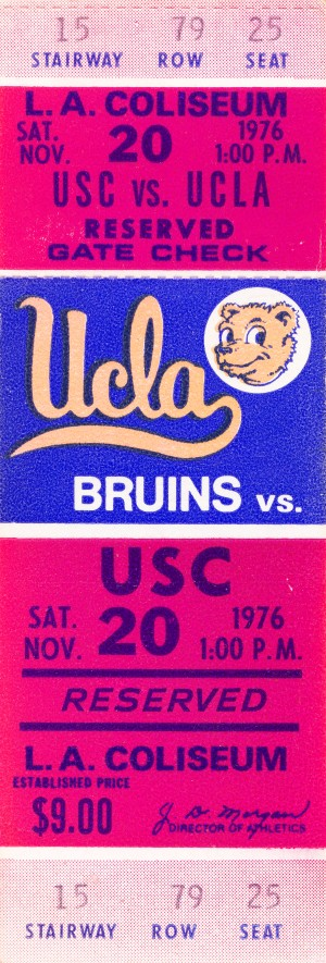 1976 college football usc ucla ticket stub by Row One Brand