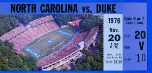 1976 duke north carolina vintage college football ticket art for the wall by Row One Brand