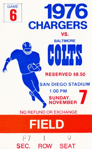 1976 san diego chargers baltimore colts vintage nfl ticket stub wall art by Row One Brand