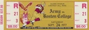 1977 Army vs. Boston College Full Ticket by Row One Brand