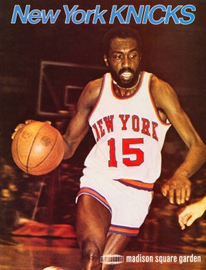 1977 new york knicks basketball poster by Row One Brand