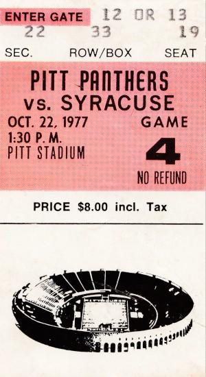 1977 Pitt vs. Syracuse by Row One Brand
