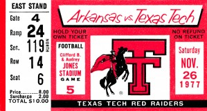 1977 texas tech red raiders ticket stub by Row One Brand