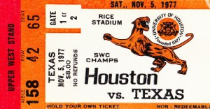 1977_College_Football_Texas vs. Houston_Astrodome_Row One Brand Ticket Stub by Row One Brand