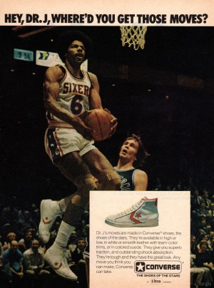 1977_National Basketball Association_Philadelphia 76ers_Dr. J_Converse Shoe Ad_Row One by Row One Brand