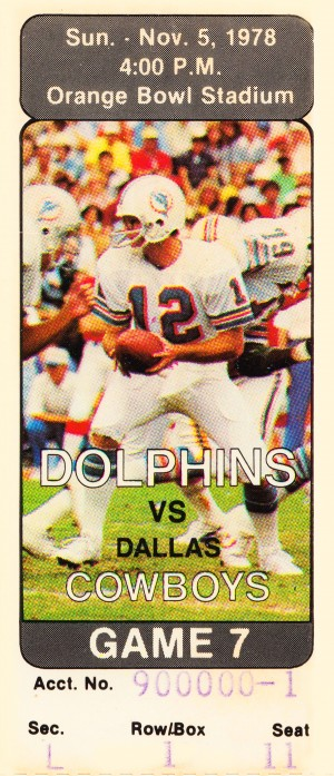 1978 miami dolphins dallas cowboys ticket art by Row One Brand