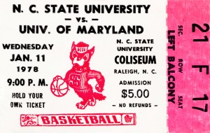 1978 north carolina state university basketball ticket stub canvas art by Row One Brand