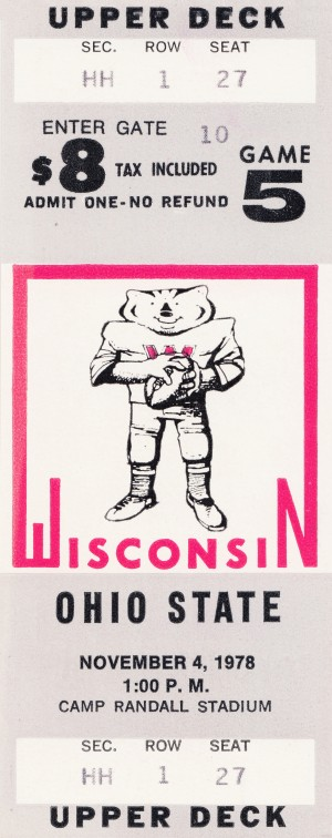 1978 ohio state wisconsin big 10 college football ticket art by Row One Brand