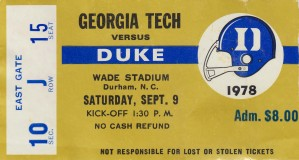1978_College_Football_Duke vs. Georgia Tech_Wade Stadium_Duke Ticket Stub Collection by Row One Brand