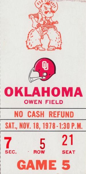 1978_College_Football_Oklahoma State vs. Oklahoma_Owen Field_Oklahoma Football Ticket Collection by Row One Brand