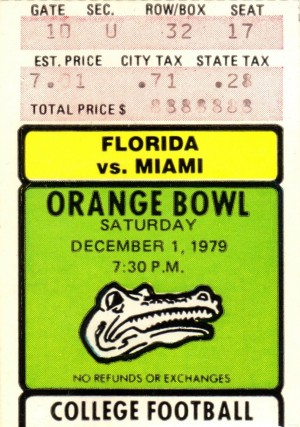 1979 college football miami florida orange bowl stadium ticket stub art by Row One Brand
