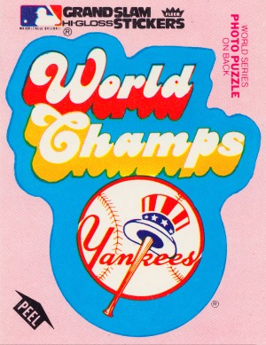 1979 fleer sticker new york yankees world champs poster by Row One Brand