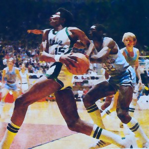 1979 michigan state spartans indiana state larry bird watercolor sports art mixed media basketball by Row One Brand