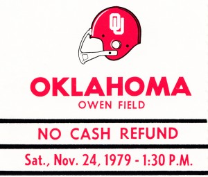 1979 Oklahoma Sooners Football Metal Sign Ticket Stub by Row One Brand