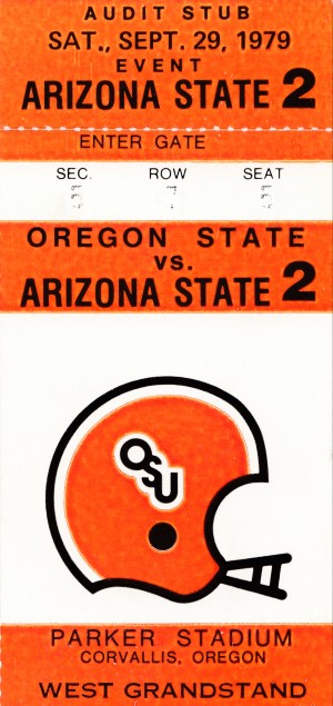 1979 oregon state university osu beavers retro ticket stub poster wall art by Row One Brand
