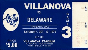 1979 villanova university football ticket stub art (1) by Row One Brand