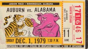 1979_College_Football_Alabama vs. Auburn_Legion Field_Birmingham_AL_College Football Ticket Art by Row One Brand