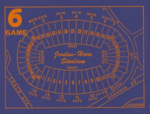 1979 Auburn Tigers Jordan Hare Stadium Map by Row One Brand