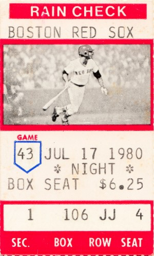 1980 boston red sox ticket stub picture poster by Row One Brand