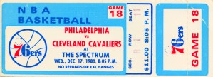1980 cleveland cavaliers philadelphia 76ers nba basketball ticket art by Row One Brand